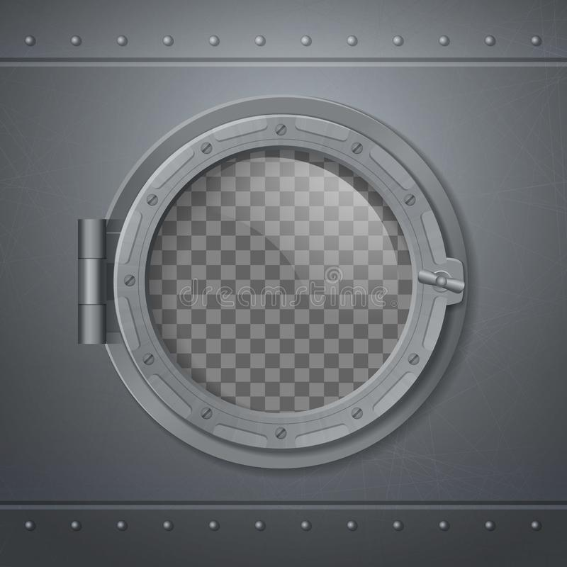 Gray Metal Porthole Realistic Composition stock illustration