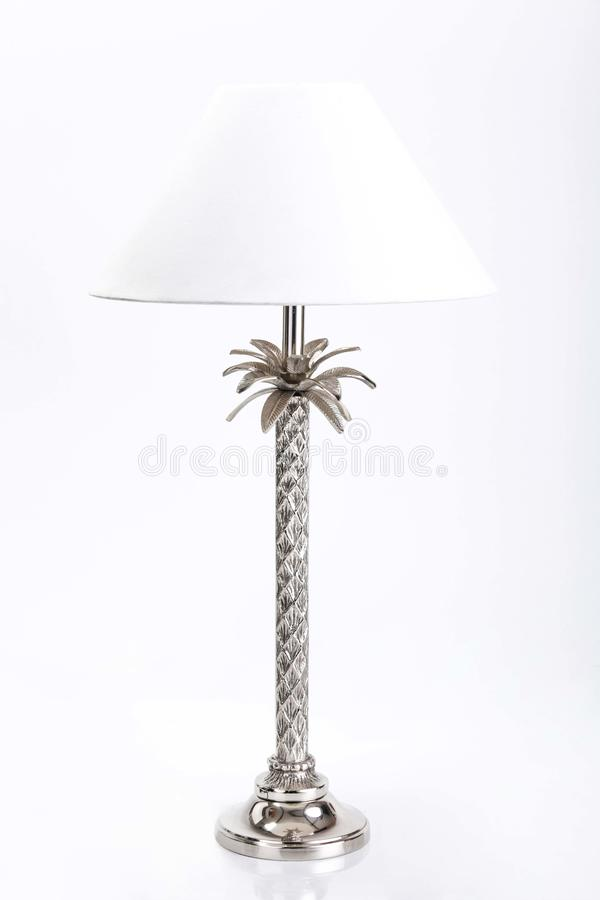 Gray Metal Table Lamp With White Cone Lampshade stock images