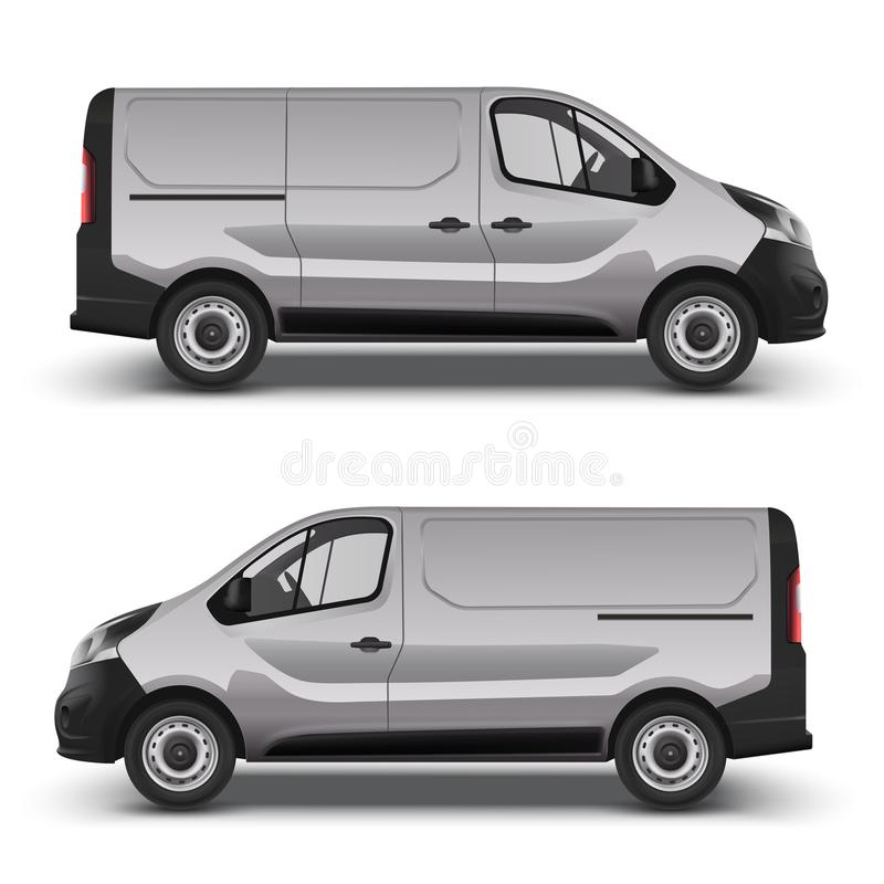 Gray minivan right and left side view. Vector realistic gray delivery minivan, city minibus right and left side view, with shadow, on white background. Template royalty free illustration