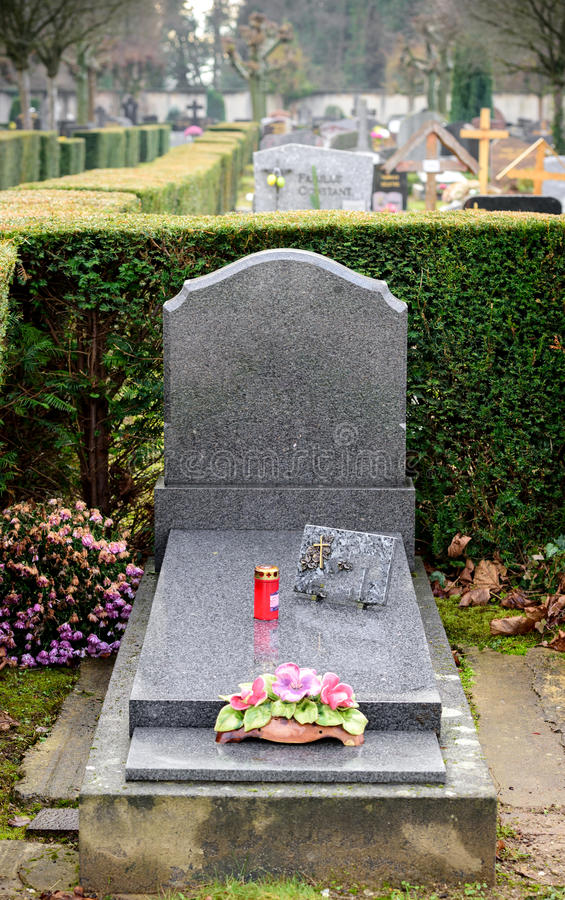 Download Gray Modern Marble Tombstones In French Cemetery Stock Photo - Image: 83720714
