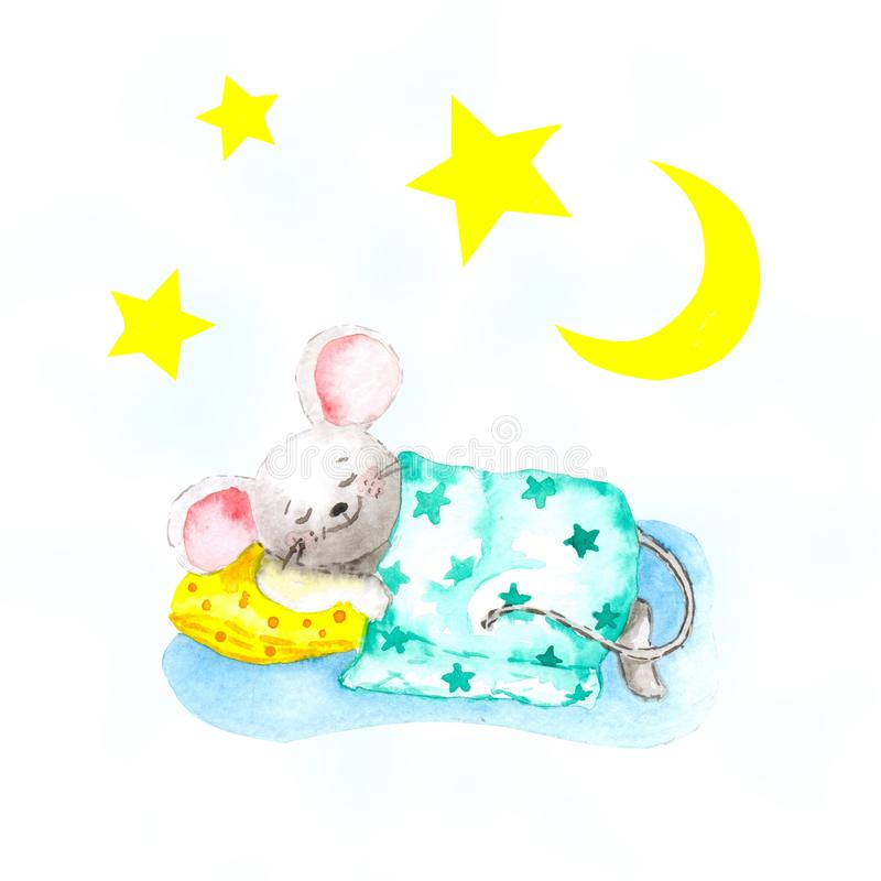 The gray mouse sleeps on a yellow pillow and is covered with a blanket under the stars and the month. Concept for baby. Freehand watercolor drawing. Gray mouse royalty free illustration