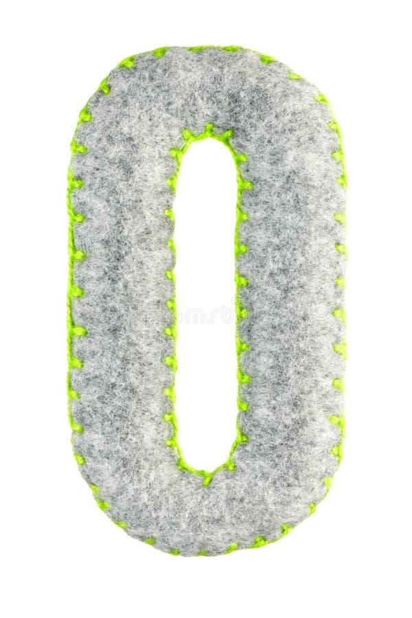 Gray Number hecho a mano 0 aisló en blanco foto de archivo libre de regalías