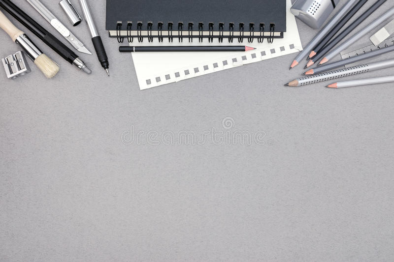 office drawing tools. Download Gray Office Desk With Spiral Notebook And Various Drawing Tools, Stock Photo - Image Tools O