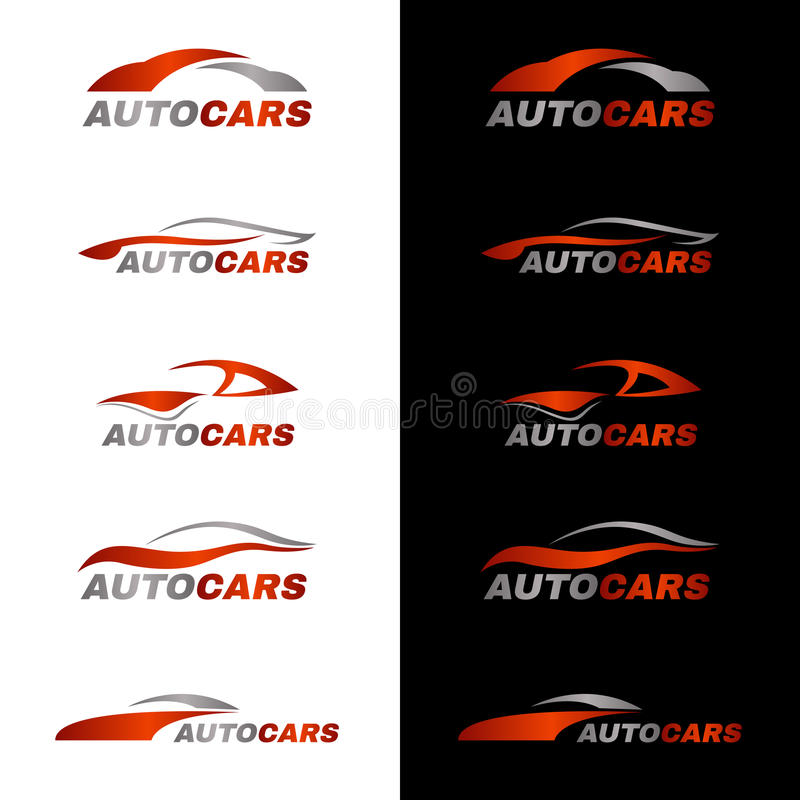 Gray orange car logo in black and white background royalty free illustration