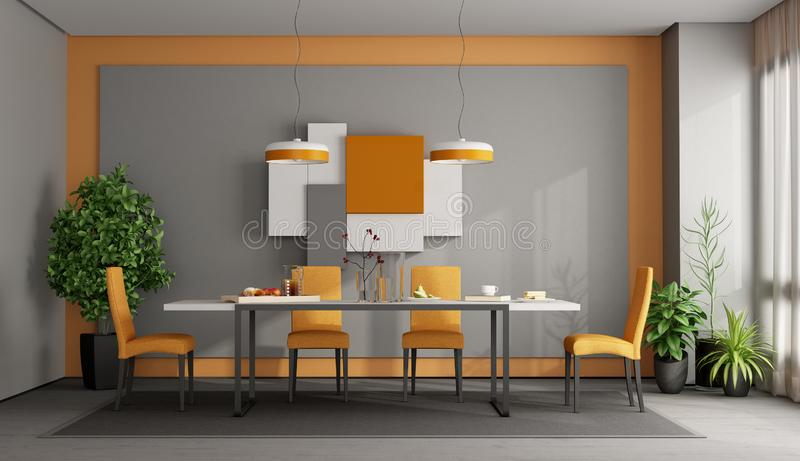 Gray and orange dining room. With table and chairs on carpet - 3d rendering stock illustration