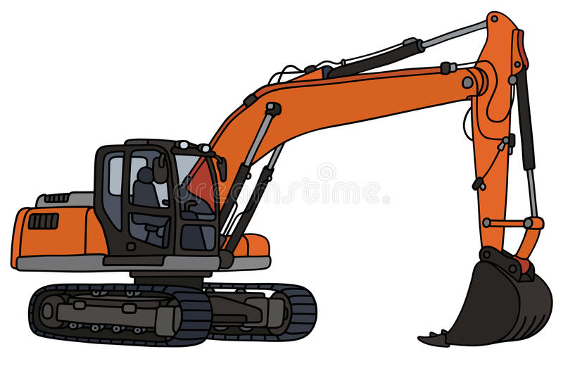 Gray and orange excavator. Hand drawing of a gray and orange big excavator vector illustration