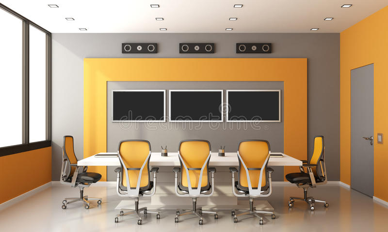 Gray and orange modern boardroom. With meeting table office chairs and screen on wall - 3d rendering vector illustration