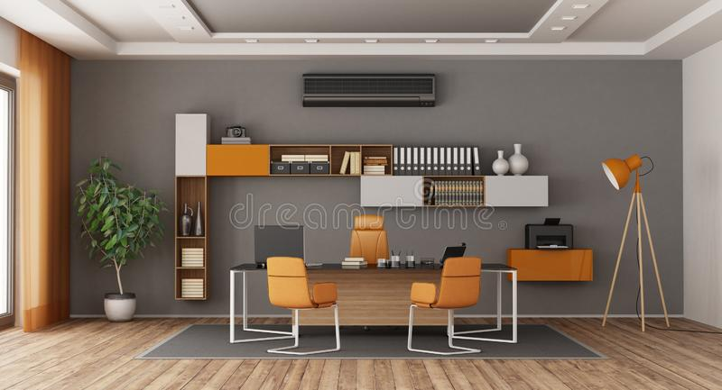 Gray and orange modern office. With desk,office chairs , bookcase and air conditioner - 3d rendering vector illustration