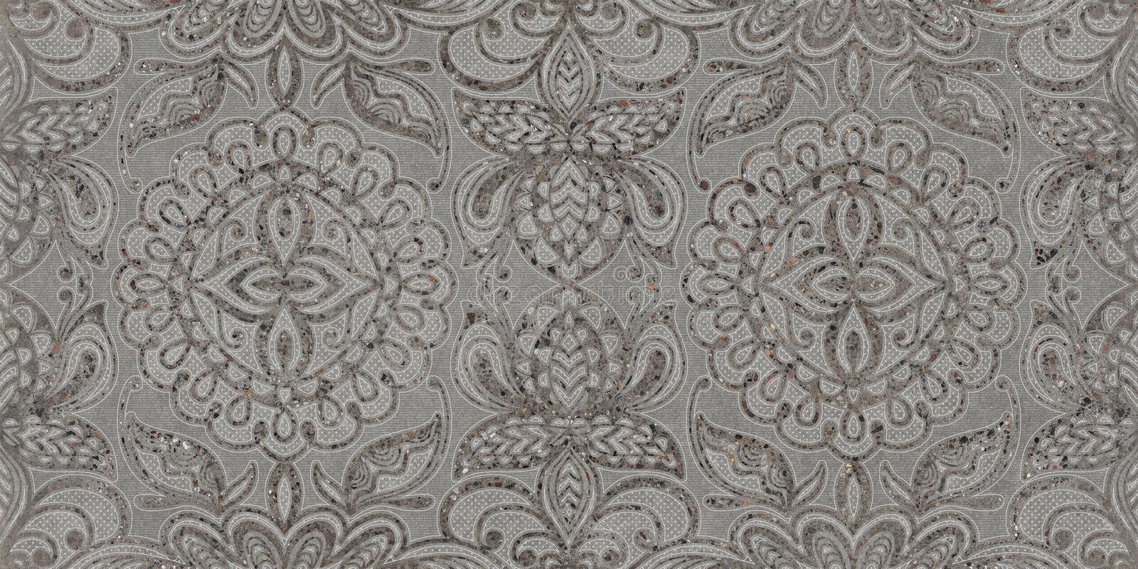 Gray ornament seamless background, pattern texture, digital wall tile design royalty free stock photo