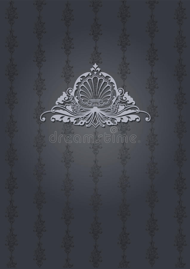 Gray Ornate Cover escuro ilustração do vetor