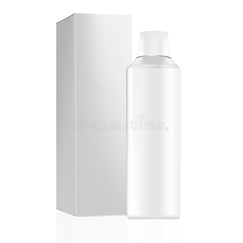 Gray package box with gray tube/bottle royalty free illustration