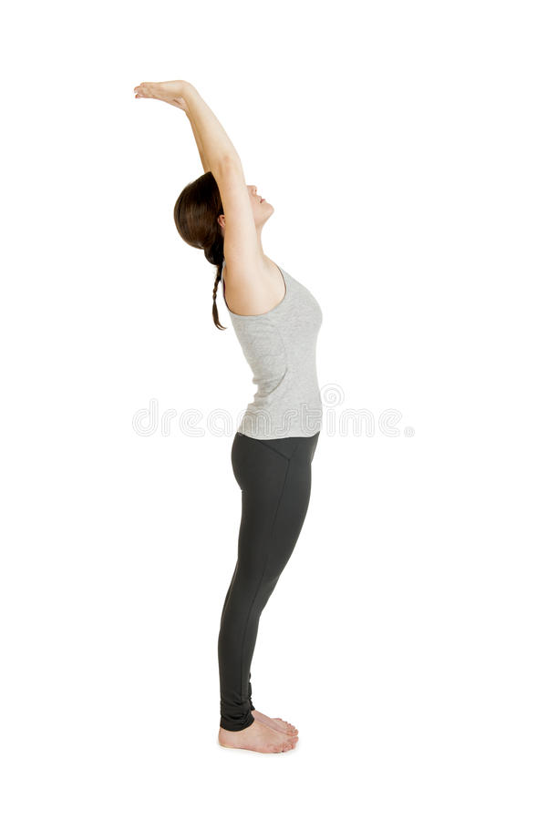 Gray_Pada Hastasana_Step2 de femme de yoga photographie stock libre de droits