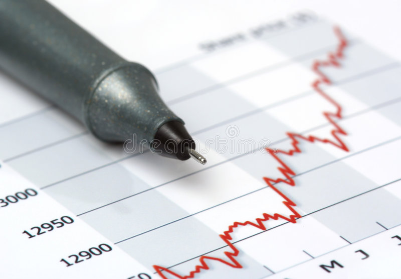 Download Gray Pen On Growing Share Price Chart Stock Photo - Image: 5117434