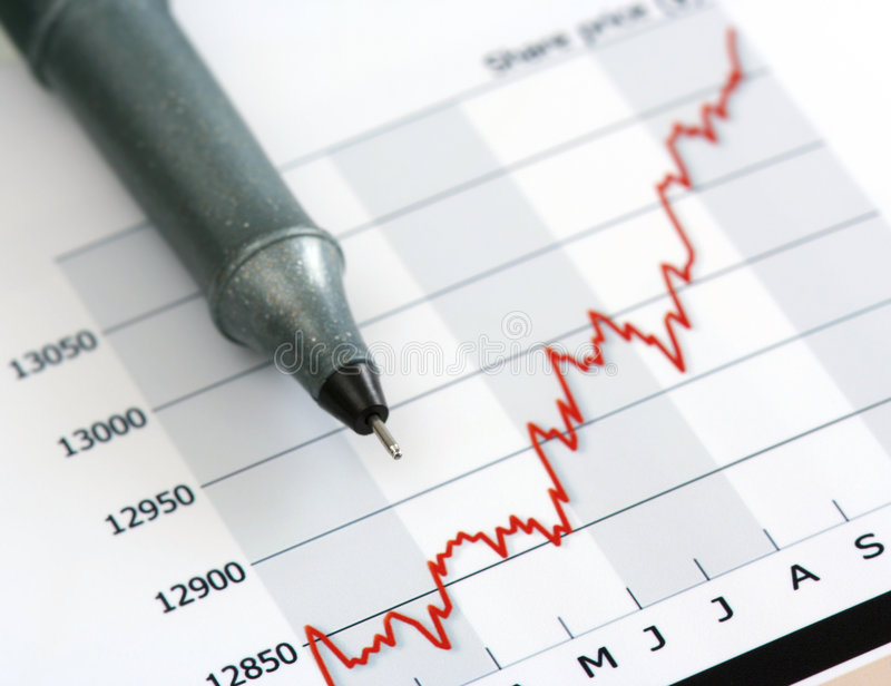 Download Gray Pen On White Growing Share Price Chart Stock Image - Image: 5117481