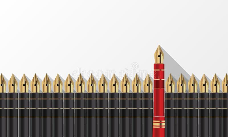 Gray pens and one red pen. Think different concept vector illustration