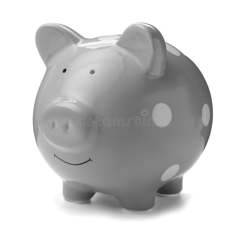 Gray piggy bank on white background. Money saving stock photography