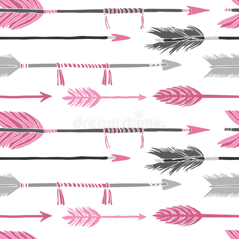 Gray and pink arrows Seamless pattern stock illustration