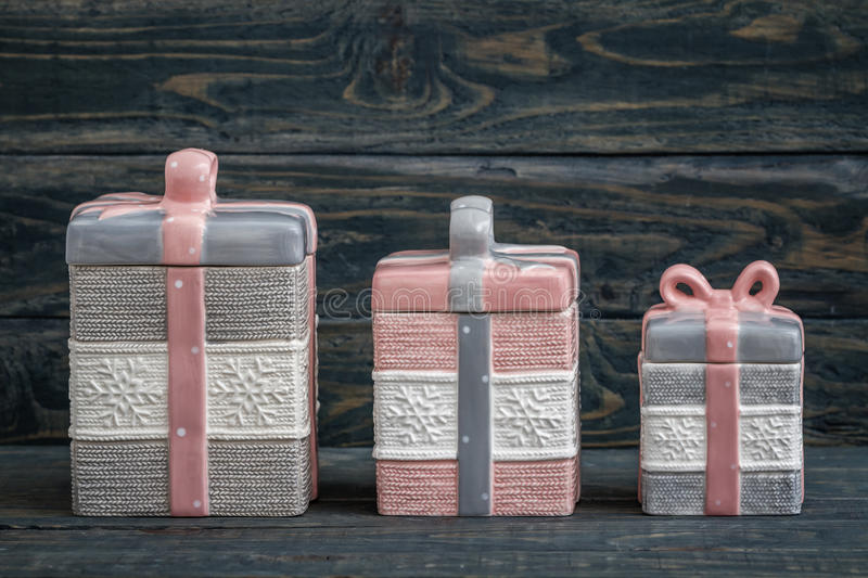 Gray and Pink Cute Decorative Ceramic Jars royalty free stock photography