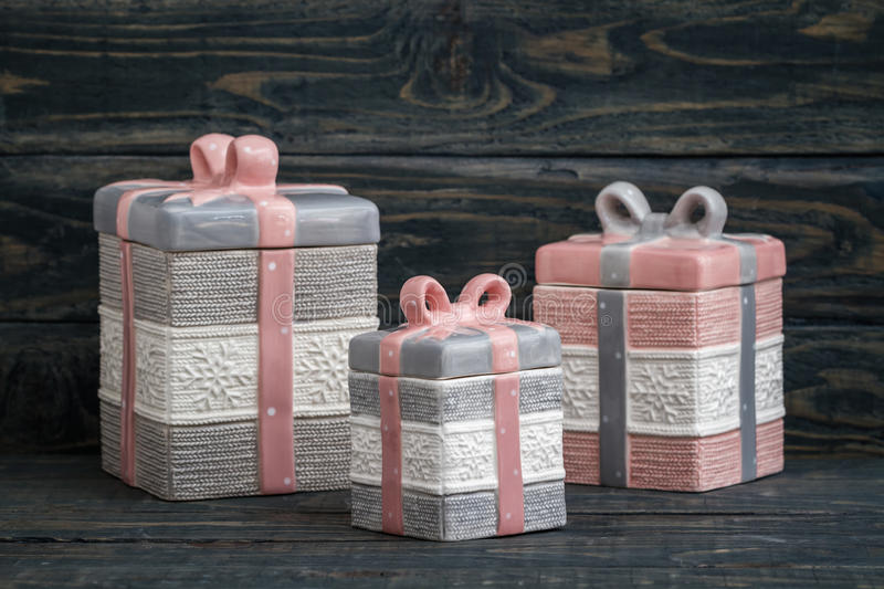 Gray and Pink Cute Decorative Ceramic Jars stock photos