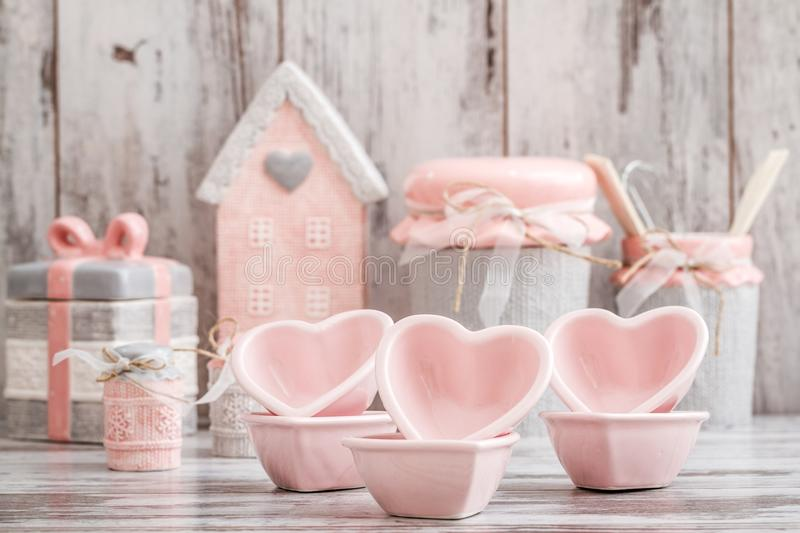 Gray and Pink Cute Decorative Kitchen Utensils royalty free stock photo