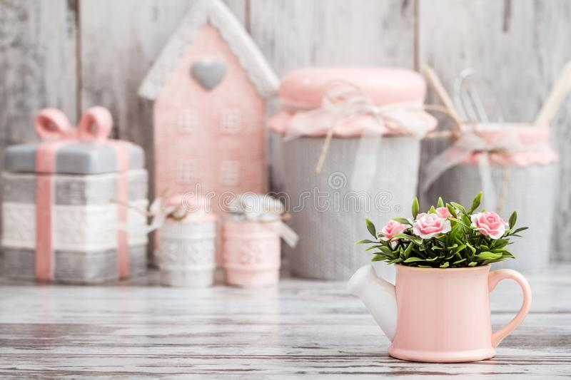 Gray and Pink Cute Decorative Kitchen Utensils stock photos