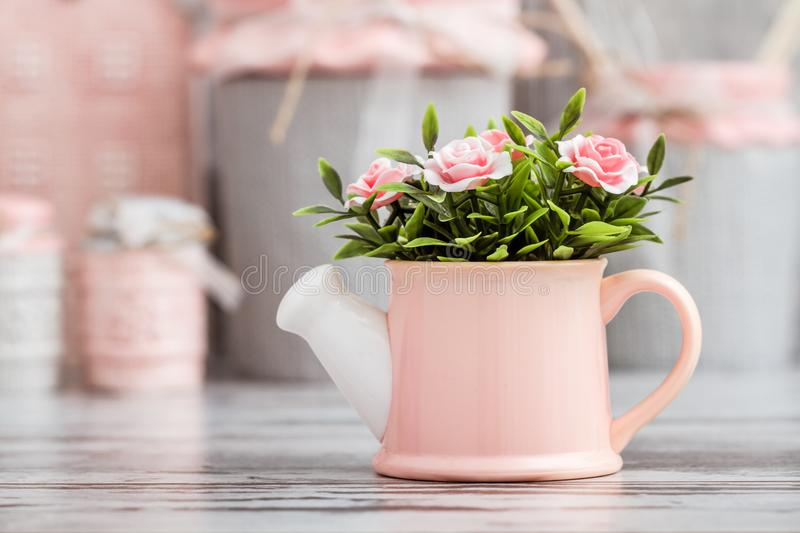 Gray and Pink Cute Decorative Kitchen Utensils royalty free stock images