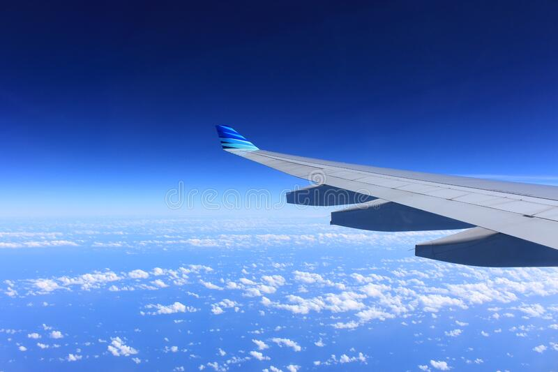 Gray Plane Wing royalty free stock photos