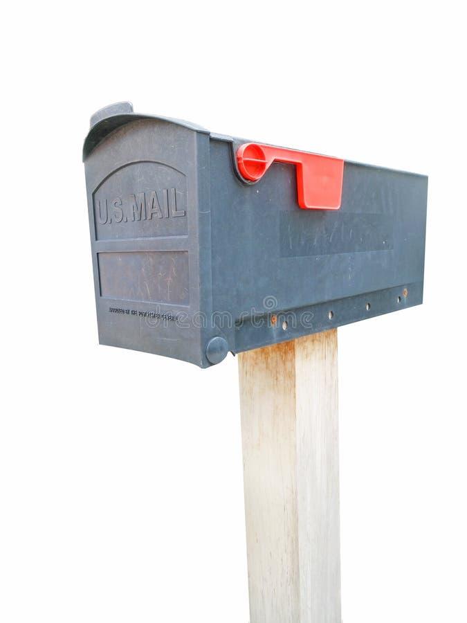 Gray Plastic Mailbox oscuro en blanco con la trayectoria de recortes imágenes de archivo libres de regalías