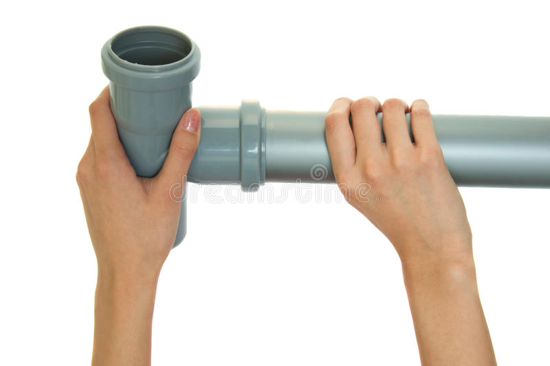 Download Gray plastic pipes stock photo. Image of grey, hold, holding - 16529768
