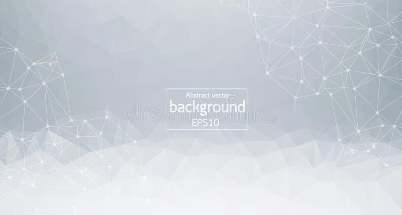 Gray Polygonal Space Background abstrato com pontos e linhas de conexão Molécula poligonal geométrica e comunicação do fundo ilustração do vetor
