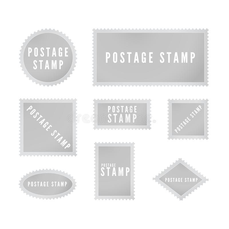 Gray postal stamp template collection with shadow. Retro blank postage stamp with perforated border. Vector illustration royalty free illustration