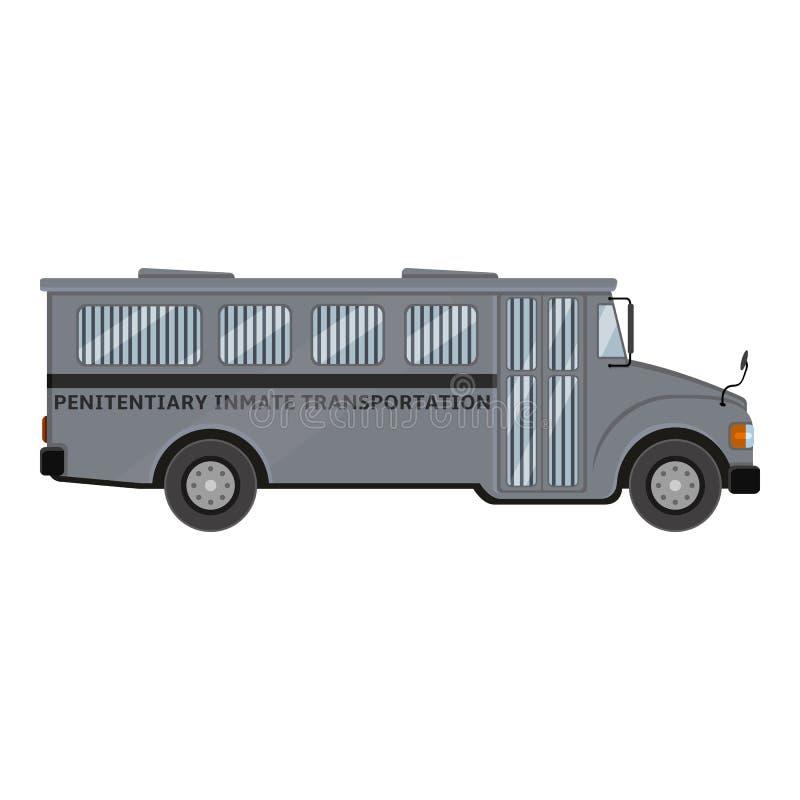 Gray Prison Bus Ejemplo de color plano del vector ilustración del vector