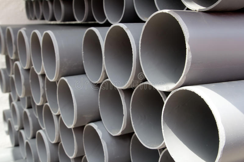 Download Gray PVC Tubes Plastic Pipes Stacked In Rows Stock Image - Image: 21390745