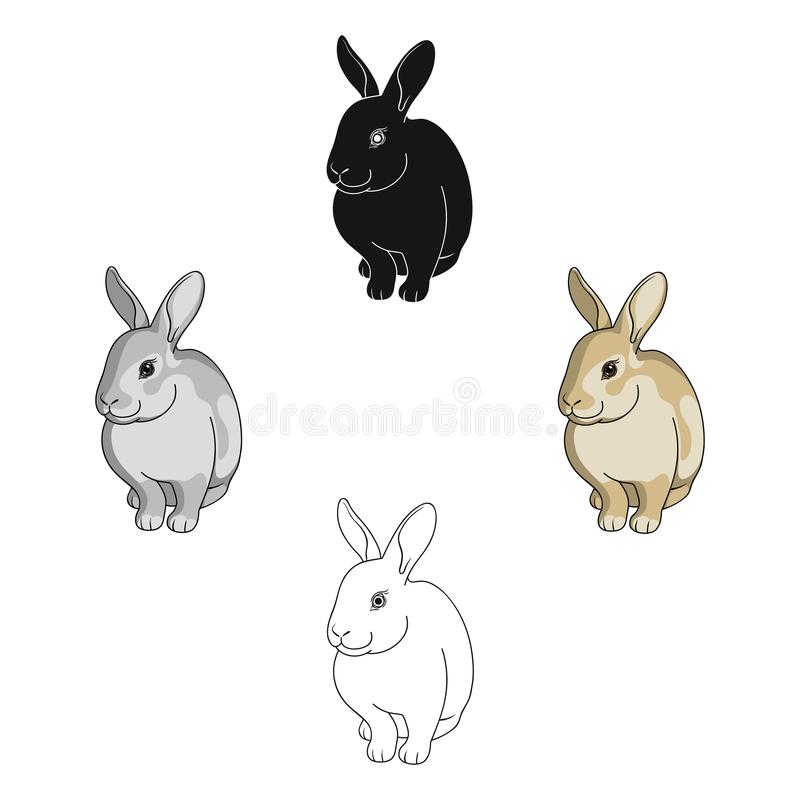 Gray rabbit.Animals single icon in cartoon,black style vector symbol stock illustration web. stock images