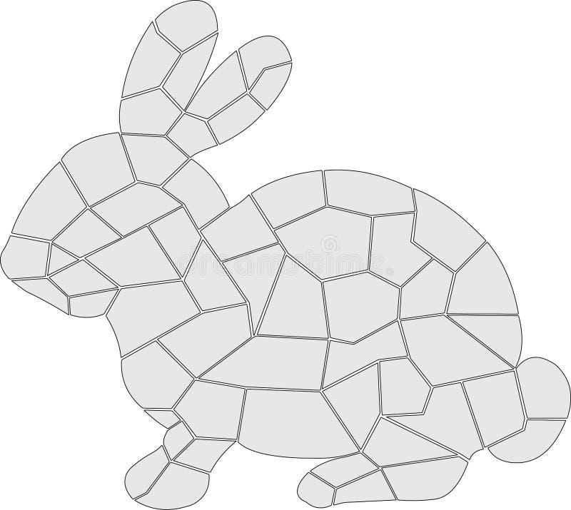 Gray Rabbit med svarta översikter vektor illustrationer