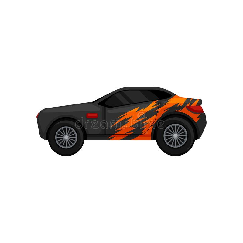 Gray racing car with black tinted windows and orange wrap decal. Automobile theme. Flat vector for mobile game, promo vector illustration