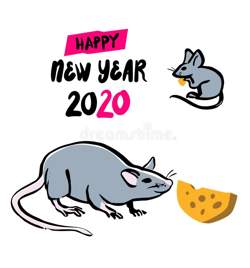 Gray rat with cheese, symbol of chinese happy new year 2020. Chinese Zodiac sign. Vector illustration, isolated on a royalty free illustration