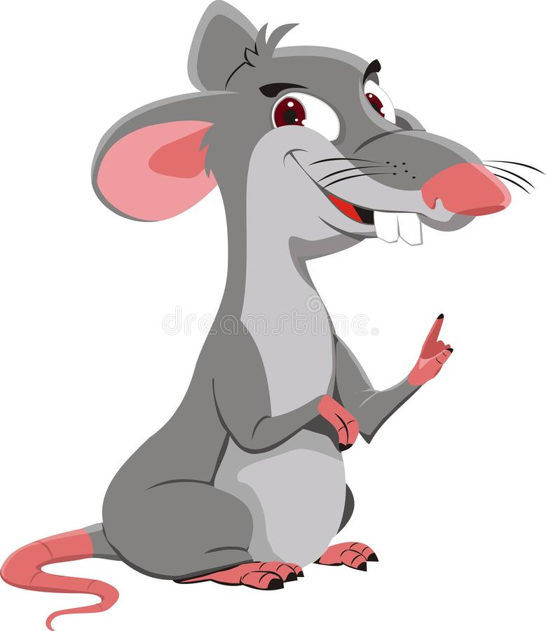 The gray rat points a finger. Vector illustration stock images