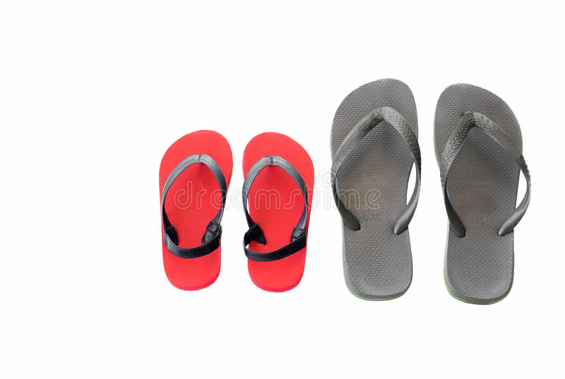 Gray and red beach sandals flip flops isolated. On white background royalty free stock images