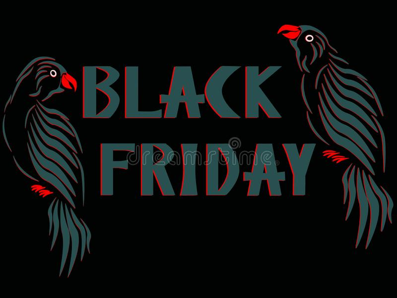 Gray-red parrots on both sides of the gray-red lettering Black Friday. royalty free stock image
