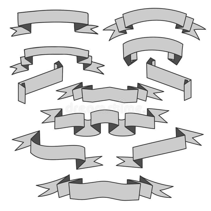 Gray Ribbons Set vector illustratie