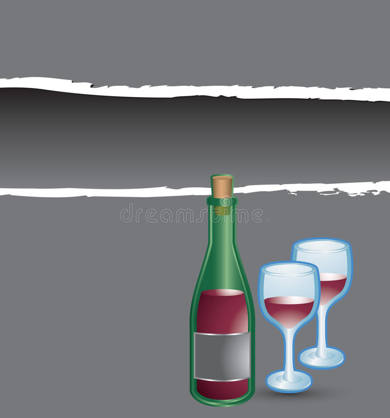 Download Gray Ripped Banner Wine Bottle And Glasses Stock Vector - Illustration: 12625819