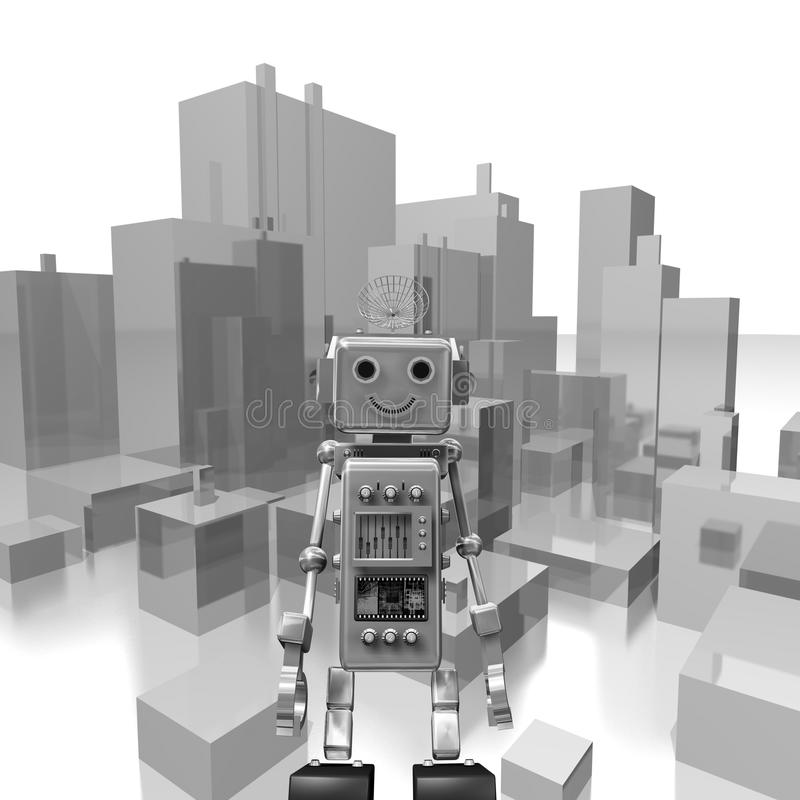 Gray robot in the city background vector illustration