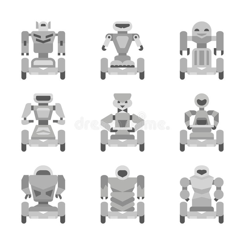 Gray robots collection royalty free illustration