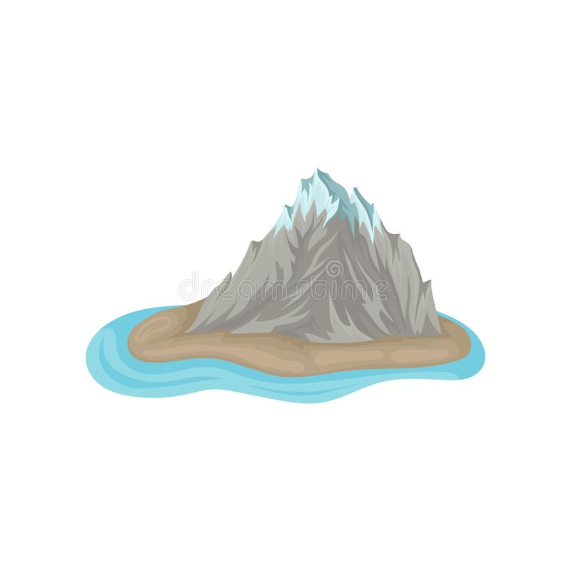 Gray rocky mountain with snowy peak on island surrounded by blue water. Natural landscape. Flat vector icon. Gray rocky mountain with snowy peak on island stock illustration