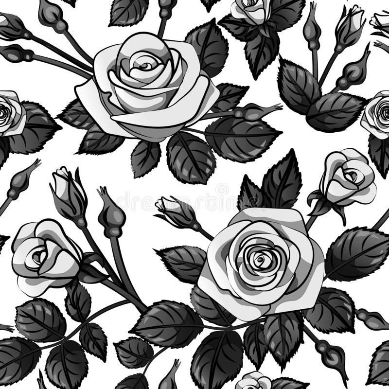 Gray roses pattern seamless with black leafs isolated on white background, vector repeat tile flower. S vector illustration