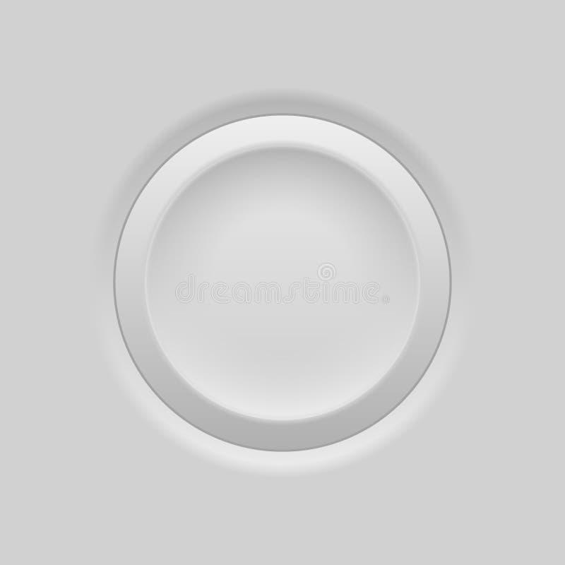 Gray round push button. Plastic embossed 3d interface element. Vector illustration vector illustration