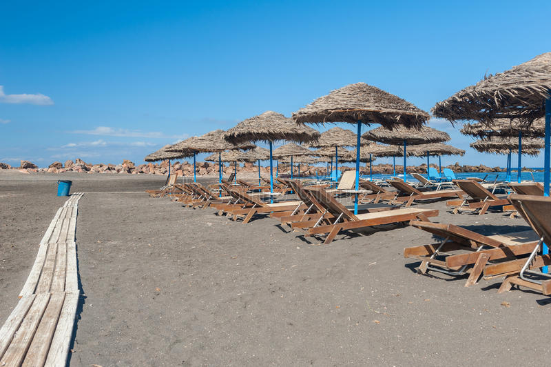 Gray Sand-strand van Monolithos Santorini stock afbeeldingen