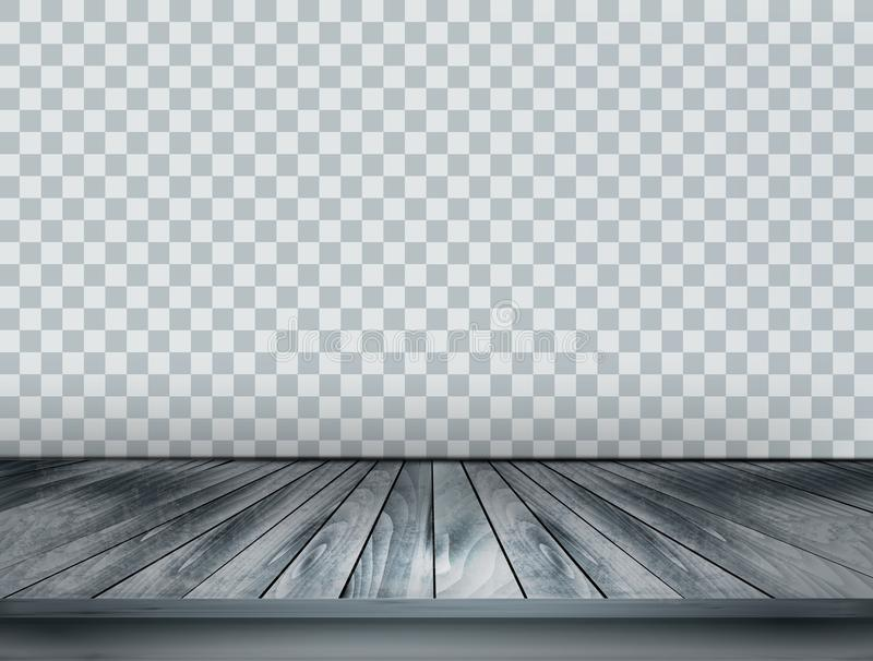Gray scale background with wooden floor royalty free illustration