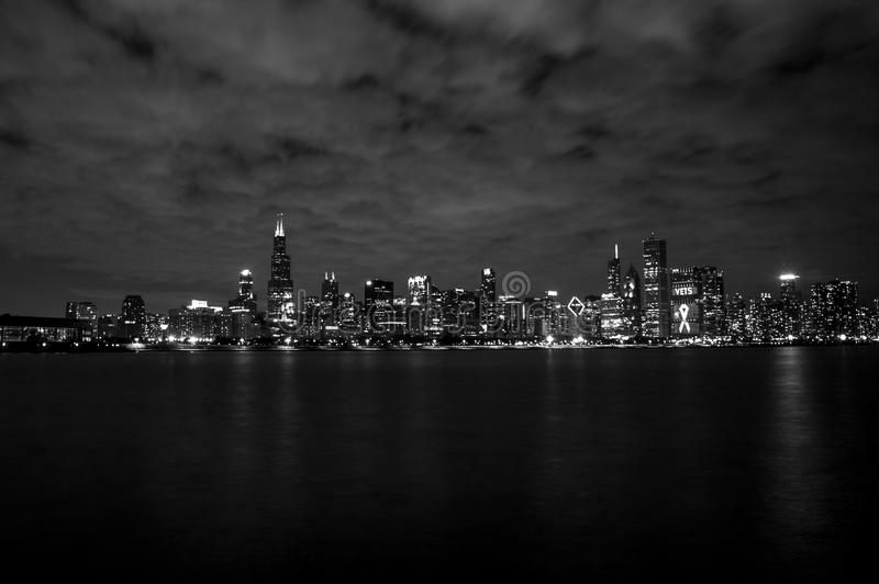 Gray Scale of City Skyline Photography royalty free stock images